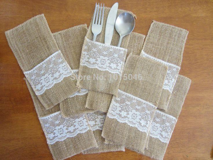 Всего 100 X Продажа Кружева поверхности мешковины нож и вилка сумка сумка багги Свадебные украшения благосклонности партии