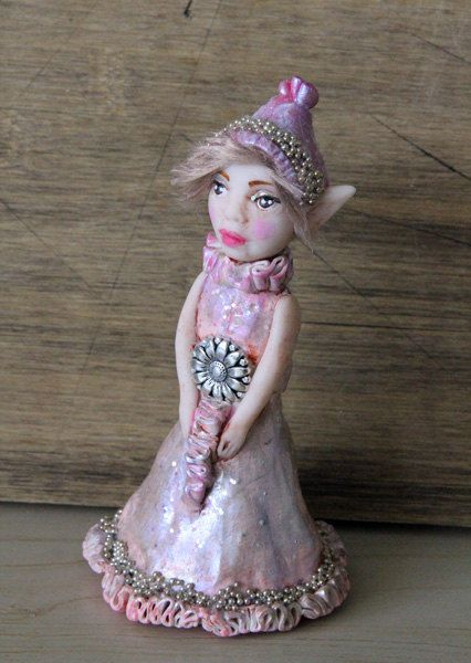 handmade christmas elf flower fairy made with clay by hand https://www.etsy.com/listing/190923853/wish-upon-a-star-art-doll-elf-fairy?