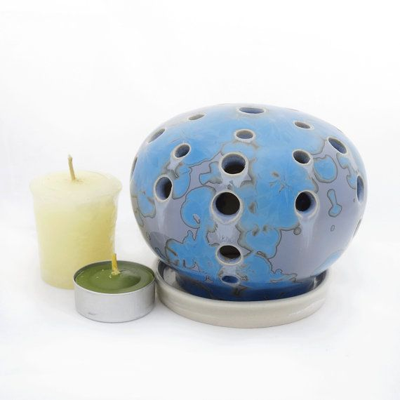 Crystal Glazed Blue Ceramic Candle Holder Round by SunbirdPottery