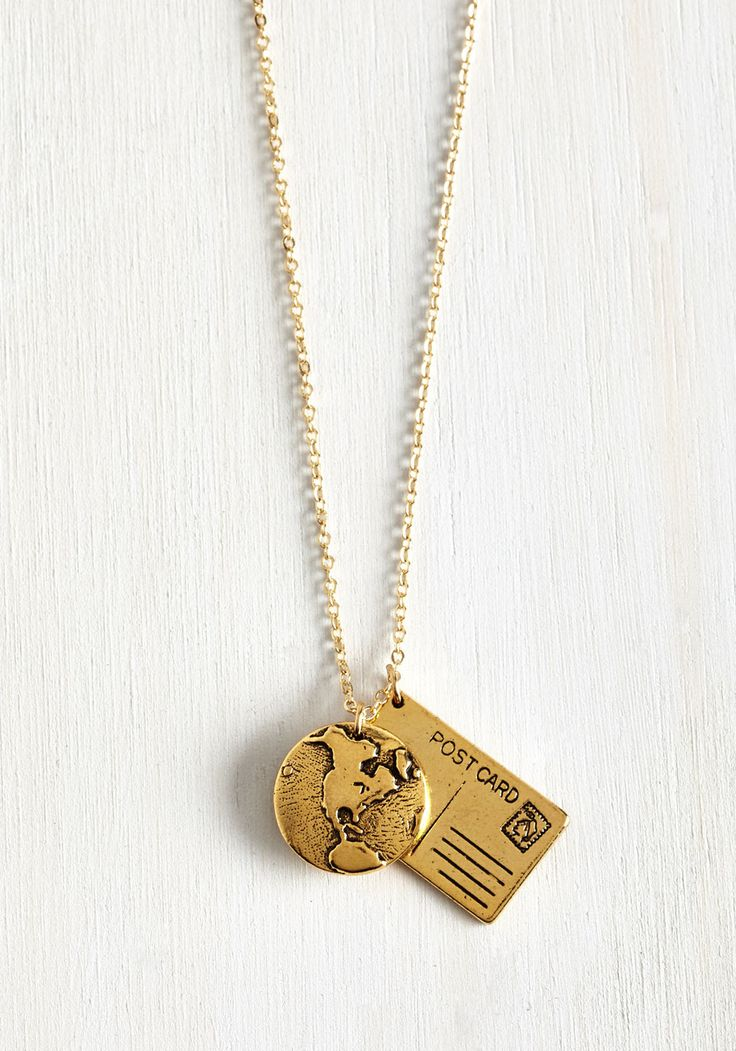 A Blast From the Post Necklace. Let your global gambols inspire your look by accessorizing with this golden necklace! #gold #modcloth
