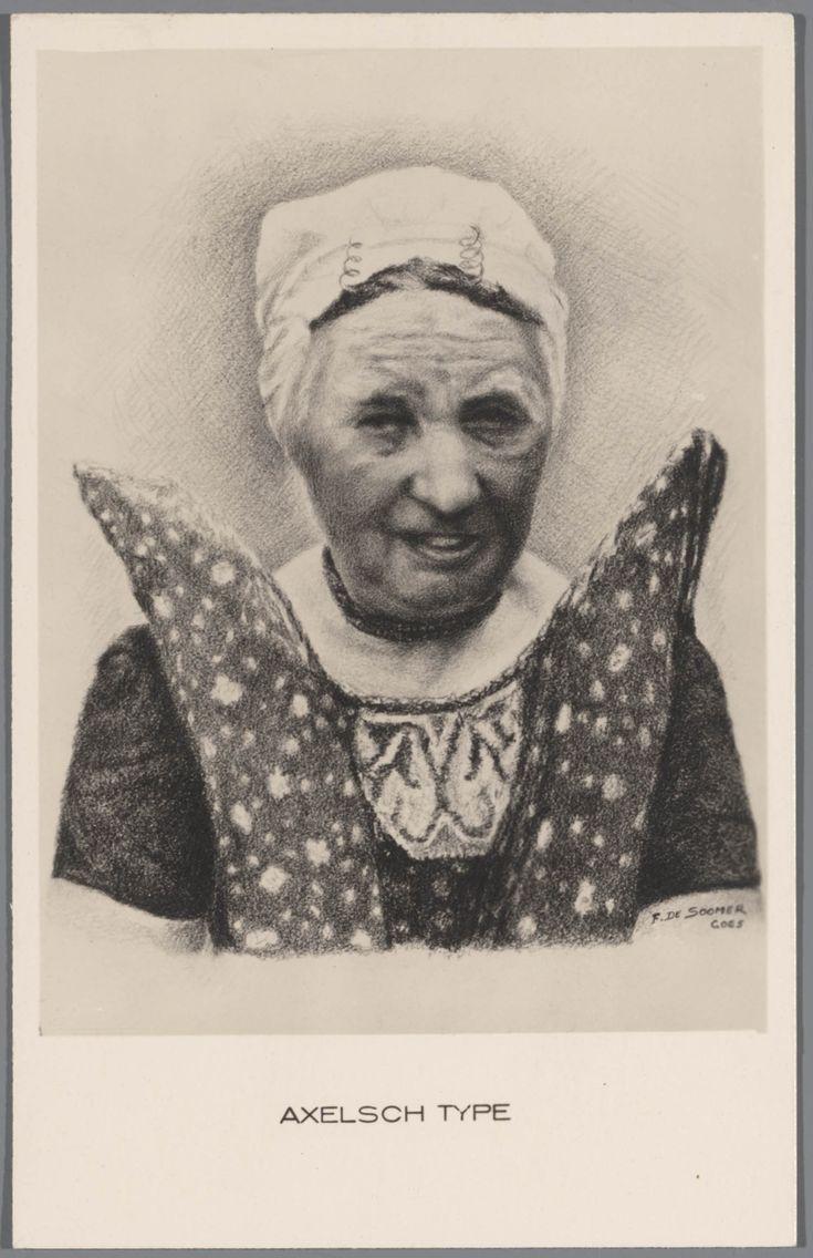 Tekening van een vrouw in Axelse streekdracht. De tekening is gesigneerd: F. de Soomer, Goes. na 1905 #Axel