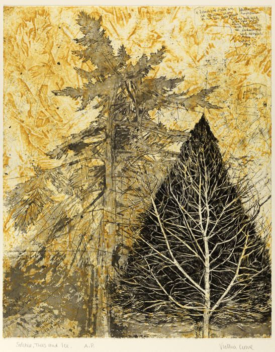 Solstice, Trees and Ice - Collograph and intaglio -  Victoria Crowe