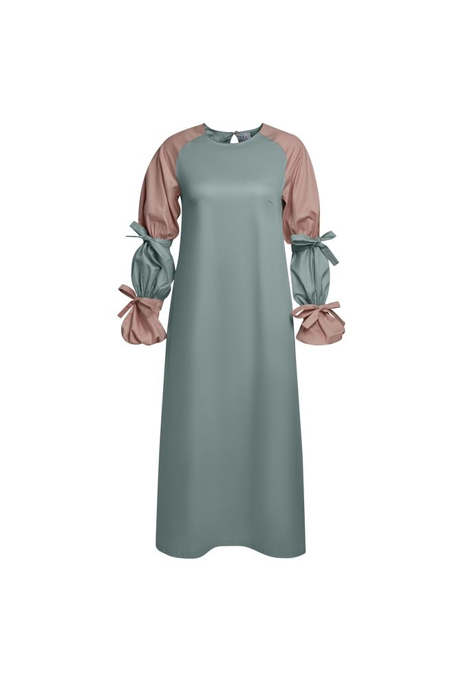 Платье с рукавами-буфами серо-зеленое/Green gray dress with puffs on sleeves