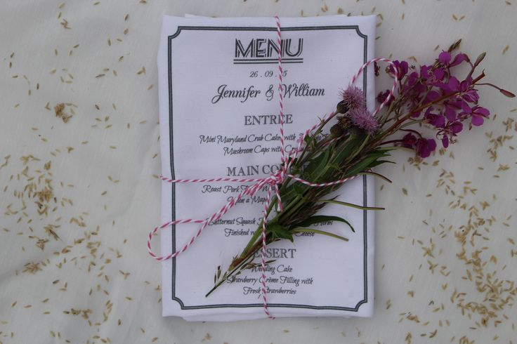 Personalised menu napkins, perfect for special occasions such as weddings or dinner parties. They are lovingly hand tied in pink and white twine with a lavender sprig as a gorgeous finishing touch.