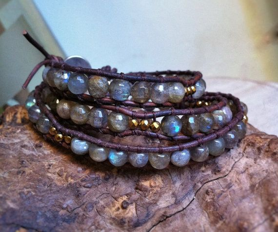 Three times wrap bracelet with leather faceted by BijouxaLaCarte, $48.00
