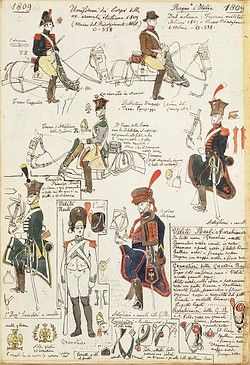 Militaria, Italy, 19th century. Uniforms of the various Italian military corps, 1809. Color plate by Quinto Cenni.