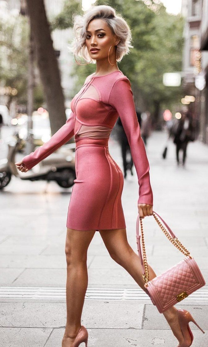 157235a3ad Woman on Top Pink Long Sleeve Cut Out Sheer Mesh Bodycon Bandage Mini Dress