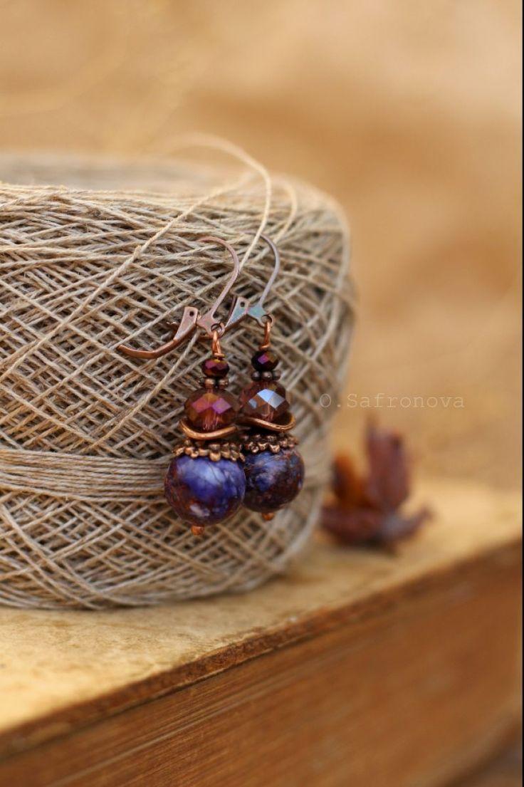 Серьги с варисцитом Пурпурный вечер - Каталог рукоделия #119128