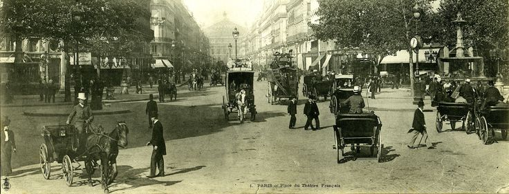a busy Paris scene.. horse drawn and shanks pony, all well dressed. Place du Theatre c.1910 from a panorama post card.
