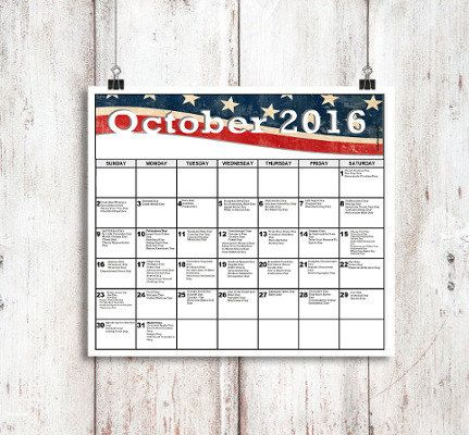 October National Days Calendar Printable National by NationalDays