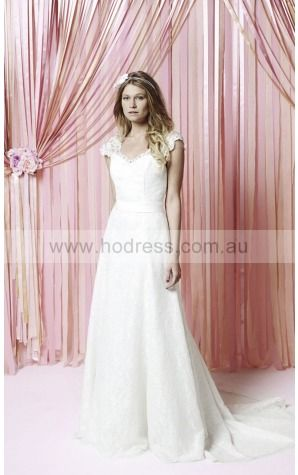 Buttons A-line Natural V-neck Wedding Dresses gzcf1001--Hodress