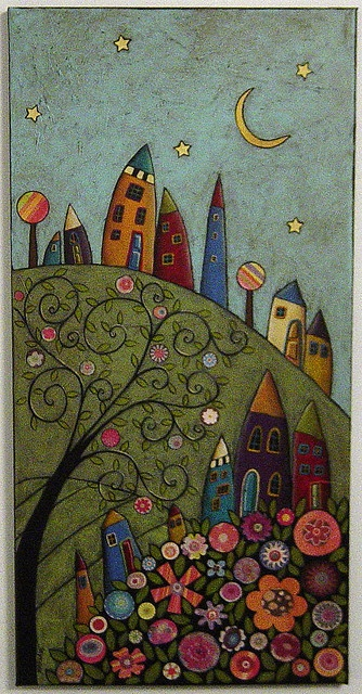 Houses Swirl Tree Collage Painting | Flickr - Photo Sharing!