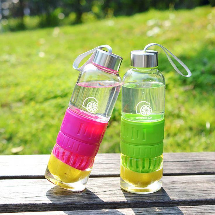 Cute Lemon Cup Water Bottle Travel Camp Sport Glass Bottle Infuser Fruit Cirtus Orange Hand Juicer Cup Shaker Bottle