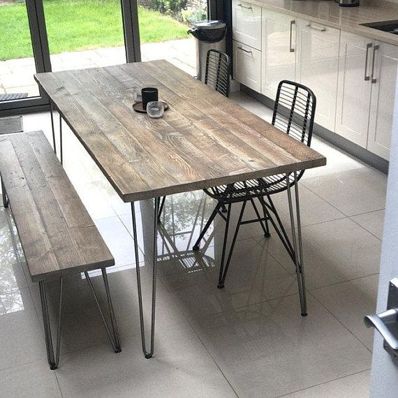 Industrial Dining Set Authentic Reclaimed Wood Steel Hairpin Legs