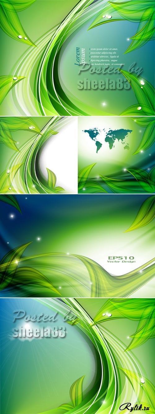 Зеленые абстрактные фоны в векторе