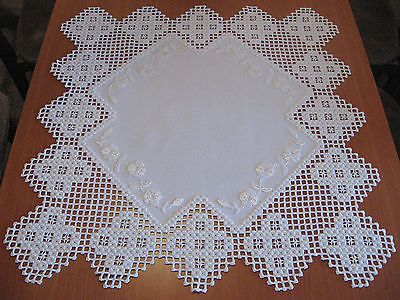 beautiful Hardanger embroidered withe tablecloth NEW + 100 %handmade