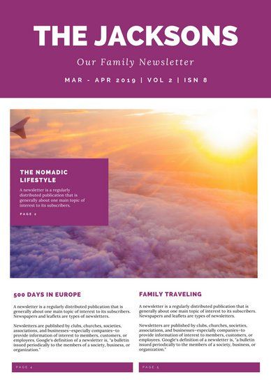 Purple Travel Photo Family Newsletter Newsletter Templates