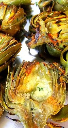 Grilled Artichokes with Romano Cheese and Fresh Garlic Drizzled in Olive Oil