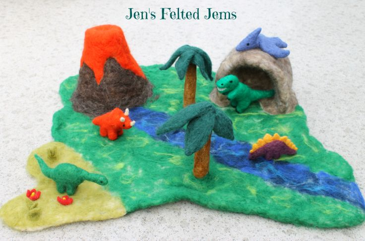 Needle felted dinosaur playscape from Jen's Felted Jems