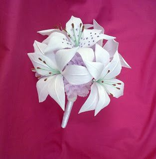 Crepe paper flower wedding bouquet.