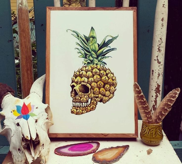 'Pineapple Skull' print by Byron Bay illustrator @rachaelsowinskaillustration  We have a select range of her prints as prints on stone available to buy. All enquiries: hello@imogenstone.com.au Imogen Stone