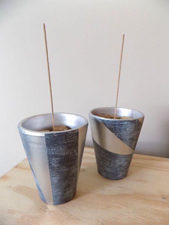 Lot de 2 pots de jardin détournés en porte-encens : Accessoires de maison par recup-by-eli-2016