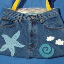 Einkaufstaschen - Seestern Jeans/ Leder Hosen-Tasche - ein Designerstück von Nina-Broja bei DaWanda
