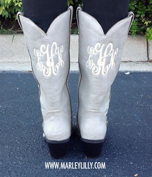 Monogrammed Stone Cowboy Boot