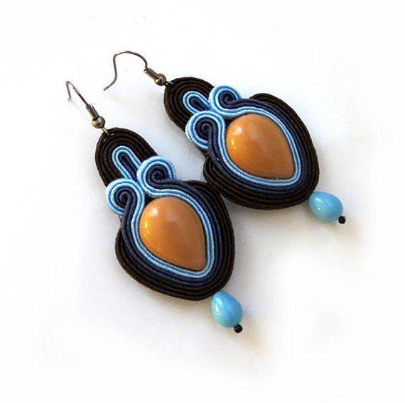 Brown Blue carmel Earrings boho lovers earrings by sutaszula