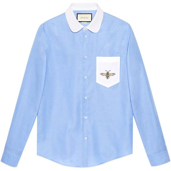 Gucci Cotton Duke Shirt With Embroidery ($620) ❤ liked on Polyvore featuring men's fashion, men's clothing, men's shirts, men's casual shirts, mens curved hem t shirt, mens cotton shirts, mens contrast collar shirt and mens light blue dress shirt