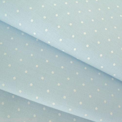 BABY BLUE LAWN with WHITE SPOT DOT FABRIC cotton Per m | eBay