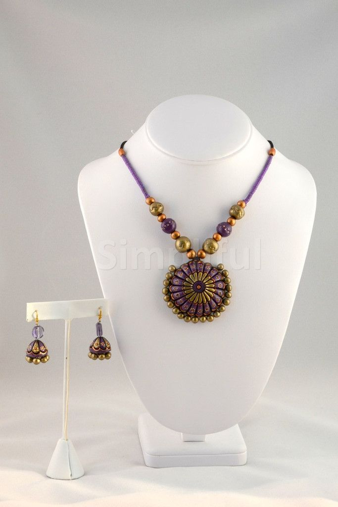 Terracotta Petals of Heaven Necklace and Earring set