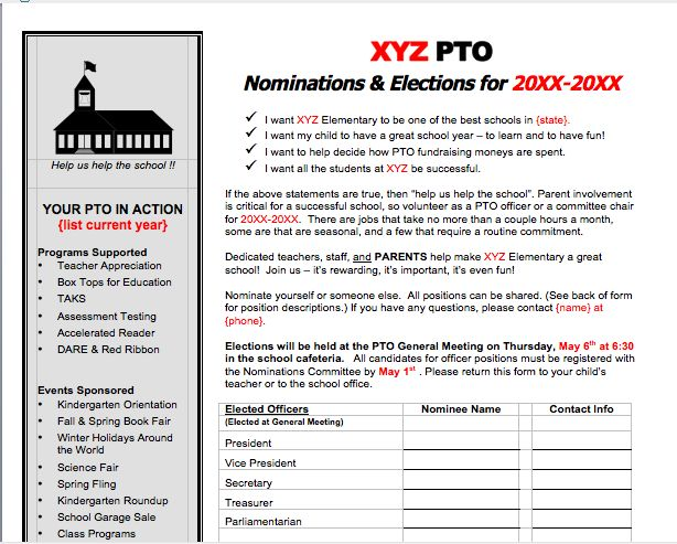 officer nomination form for pto  pta elections