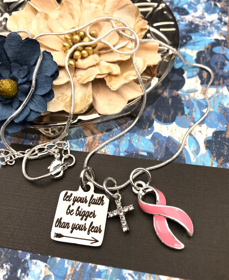 Let Your Faith Be Bigger Than Your Fear Pink Ribbon Necklace Etsy In 2020 Ribbon Necklace Pink Ribbon Pink Ribbon Charm