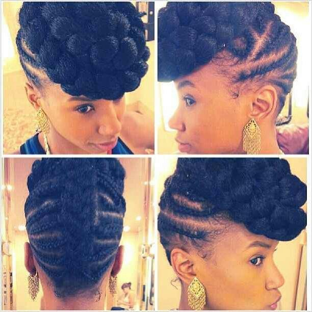 BRAIDED UPDO, SYNTHETIC HAIRSTYLES / HAIRDO / BRAIDS / CORN ROLLS / PROTECTIVE HAIRSTYLE /