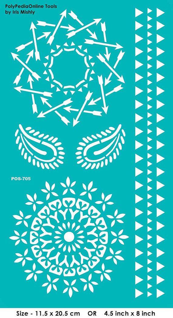 """Plantilla plantillas plantillas """"Mandala, Paisley, flecha"""", autoadhesivo, flexible, para la arcilla polimérica, tela, madera, vidrio, tarjeta que hace"""