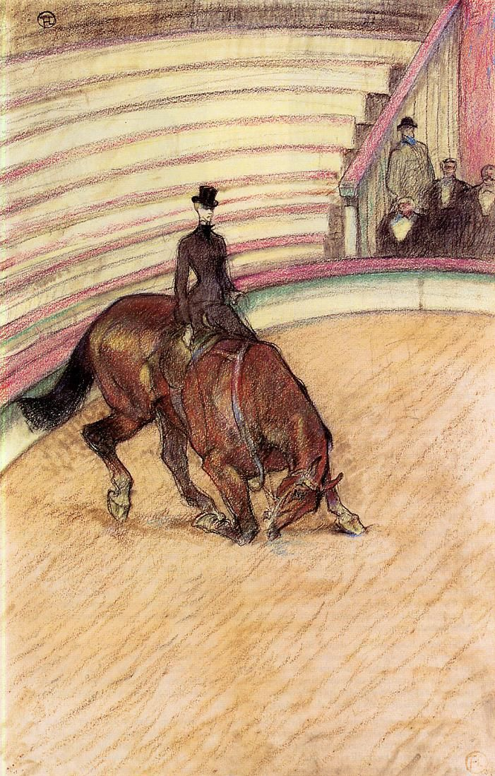 At the Circus Dressage - Henri de Toulouse-Lautrec - Sidesaddle no less!