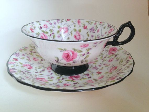 Antique Pink and Black Royal Chelsea Teacup and Saucer / Pattern 4330A / China…