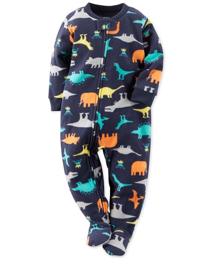 New Carter/'s Dinosaur Cotton Pajama PJs Footie Sleeper Baby Boy Gray many sizes