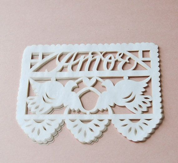 Mexican wedding invitation inserts, papel picado embellishments, WHITE on Etsy, $10.00