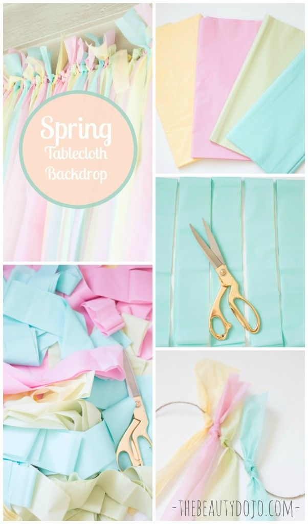 Learn how to make this Easy Spring Backdrop with Tablecloths. Super fun to make and the perfect pop of color for your party, dessert table, or diy photobooth!