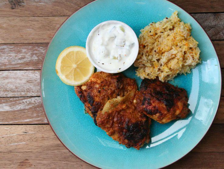 Tandoori Chicken, lemon rice and cucumber raita