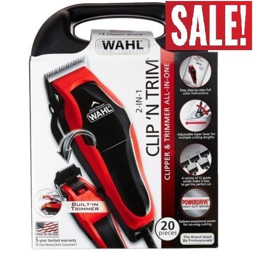 Men Professional Hair Clippers Haircut Cut Tool Wahl Barber Salon Kit All In One #Wahl