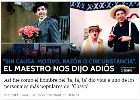 Adiós al 'profesor Jirafales', maestro de millones de latinoamericanos  Rubén Aguirre, el hombre del 'ta, ta, ta', dio vida uno de los personajes más populares del 'Chavo'. http://www.eltiempo.com/entretenimiento/cine-y-tv/muere-ruben-aguirre-perfil-del-profesor-jirafales/16622754
