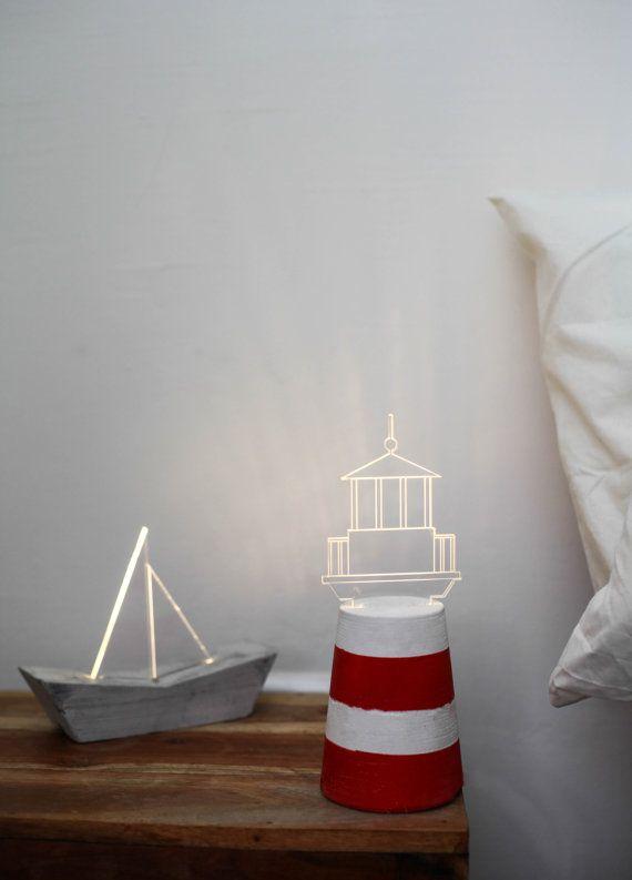 Segelboot Nachtlicht nautische Nachttischlampe von SturlesiDesign