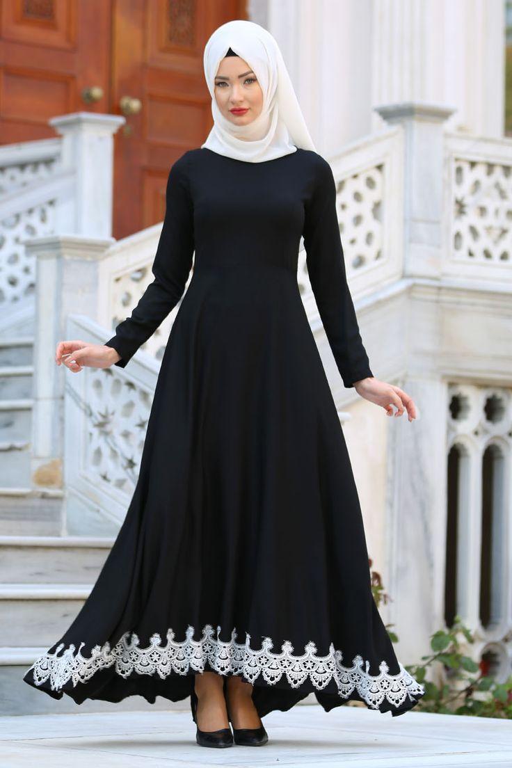 NEVA STYLE - Neva Style - Etek Ucu Dantelli Siyah Tesettür Elbise 41200S