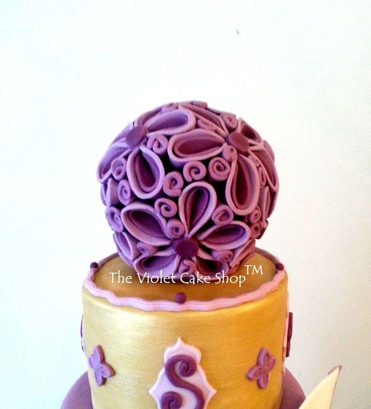 My First 4 Tier Wedding Cake - Gold & Purple — Round Wedding Cakes