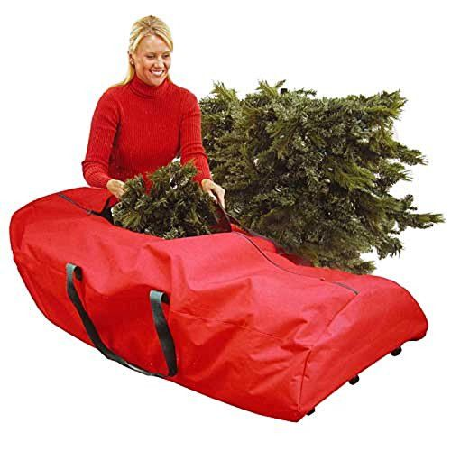 Felices Pascuas Collection 56 inch Heavy Duty Extra Large Red Rolling Artificial Christmas Tree Storage Bag for 9' Trees