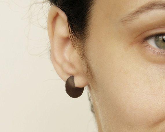 Geometric hoop earrings, Minimalist Circle Earrings, hipster style earrings, free shipping.