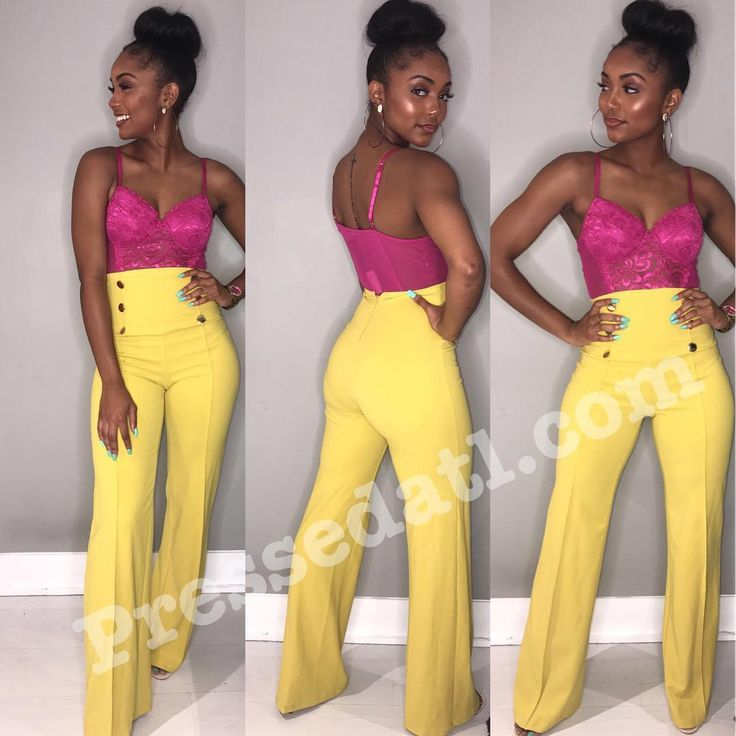 """21.4k Likes, 159 Comments - Rasheeda (@rasheedadabosschick) on Instagram: """"Totally loving the Button Wide Leg Pants available in 3 colors yellow, blue & orange paired with…"""""""